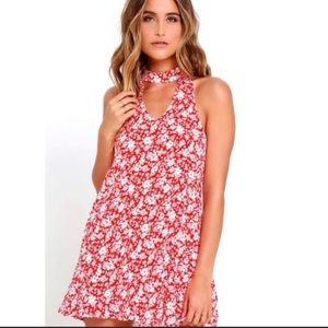 Lulus red and white floral choker swing dress